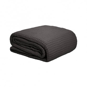 Waffle Queen/King Weave Blanket Charcoal by Bambury