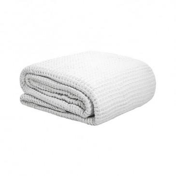Waffle Single Weave Blanket White by Bambury
