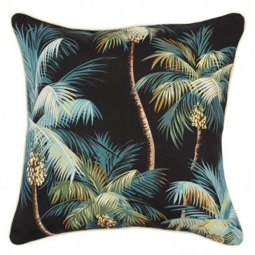 Cushion Cover With Piping Palm Trees Black by Escape To Paradise