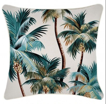 Cushion Cover With Piping Palm Trees Natural by Escape To Paradise