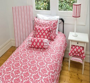 Damask Doona Red Kids Bedding by Lullaby Linen