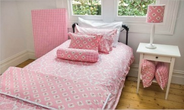 Damask Pink Single Quilt Cover Set by Lullaby Linen