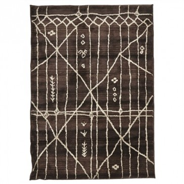 Egyptian Made Moroccan Tribal Design Rug in Chocolate