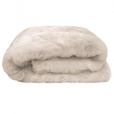 Faux Fur Throw Pebble by Bambury