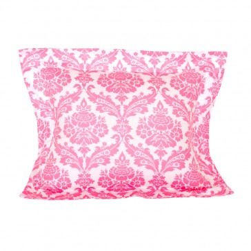 Damask Pink Flange Cushion by Lullaby Linen
