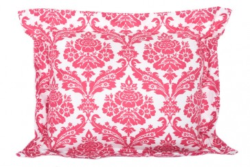 Damask Red Flange Cushion by Lullaby Linen