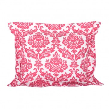 Rasberry Stripe Flange Cushion by Lullaby Linen