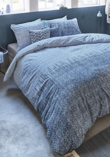 Lagos Blue Grey Cotton Percale Quilt Cover Set by Bedding House