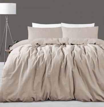 Taupe Linen Cotton King Quilt Cover Set by Accessorize