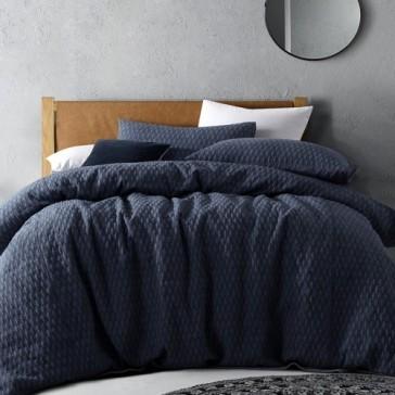Jewel Quilted Dark Denim Linen Blend Quilt Cover Set by Vintage Designs