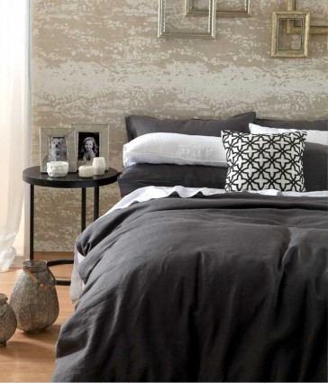Laundered Linen Charcoal Quilt Cover Set by MM Linen