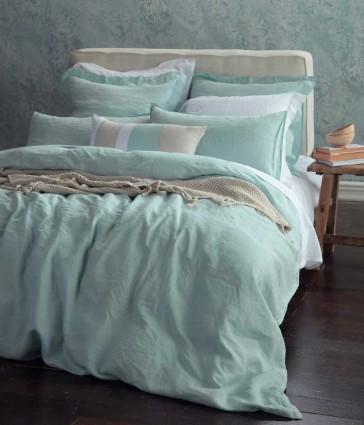 Laundered Linen Duckegg Super King Quilt Cover Set by MM Linen