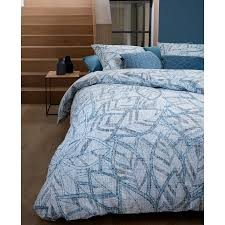 October Leaf Blue Cotton Percale Quilt Cover Set by Bedding House