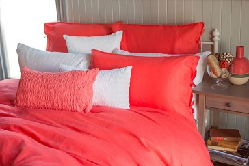 Linen Cotton Queen Quilt Cover Set in Coral by Bambury