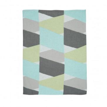 New Zig Zag Aqua Grey Blanket by Scout