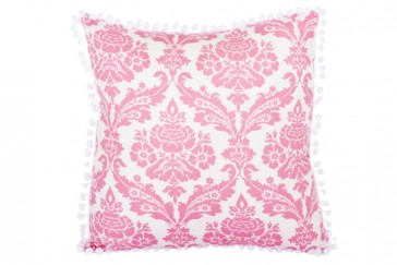 Damask Pink Pompom Cushion by Lullaby Linen