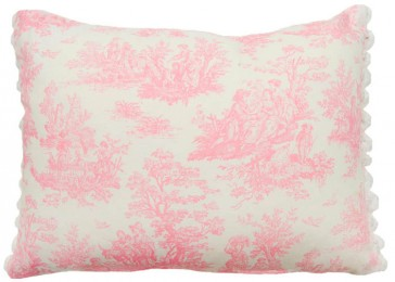 Pink Toile Pompom Cushion by Lullaby Linen
