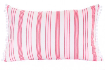 Damask Red Pompom Stripe Cushion by Lullaby Linen
