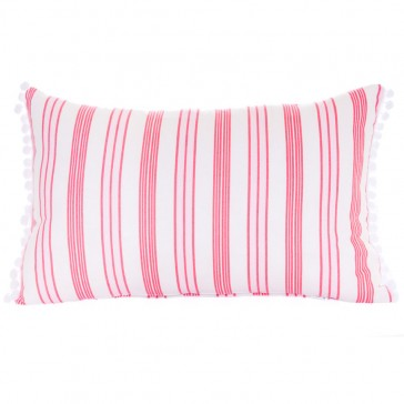 Rasberry Stripe Pompom Cushion by Lullaby Linen