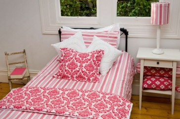 Rasberry Stripe Double Quilt Cover Set by Lullaby Linen