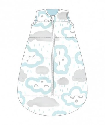 Studio Bag No Arms Cotton 18-36m 1.0 Tog Clouds Peppermint by Baby Studio