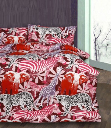 Red Retro Jungle Quilt Cover Set by Bright Young Things
