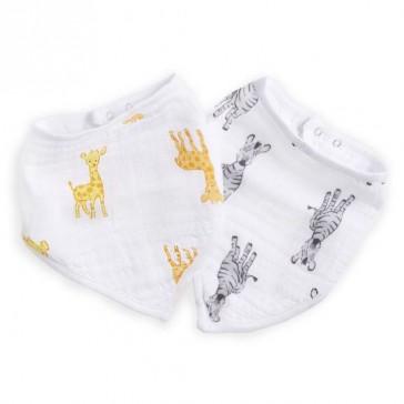 Safari Babes Giraffe/Zebra Muslin Bandana Bibs 2pack - Aden by Aden and Anais