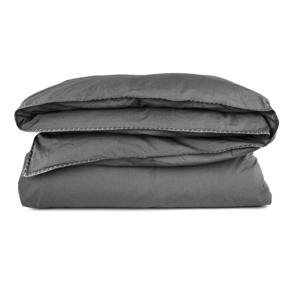 Stone Wash Percale Smog Quilt Cover Set By Scout