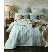 Laundered Linen Duckegg Bedspread Set by MM Linen