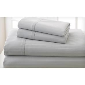 Charcoal 1000TC Cotton Rich Cambridge Stripe Sheet Set & Quilt Cover Set by Royal Living