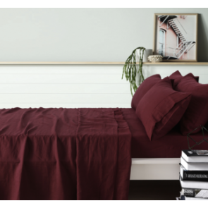 100% French Flax Linen Merlot Sheet Set by Vintage Design