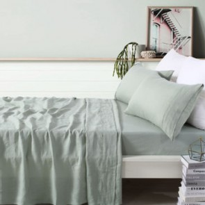 100% French Flax Linen Sage Sheet Set by Vintage Design