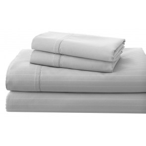 Silver 1200TC Cambridge Stripe Sheet & Quilt Cover Set by Royal Living