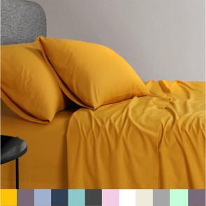 1200 TC Organic Cotton Mustard Bed Sheet Set by Elan Linen