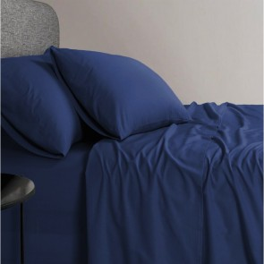 1200 TC Organic Cotton Navy Blue Bed Sheet Set by Elan Linen