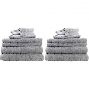 14pc Soft Egyptian Cotton Bath Towel Set in Silver