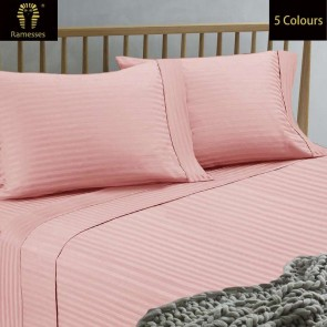 1500TC Mega Queen Spring Refresh Stripe Jacquard Damask Finished Egyptian Cotton Sateen Sheet Set by Ramesses