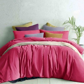 Deep Cerise Cotton Velvet Quilt Cover Set