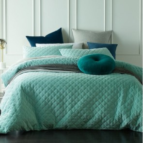 Diamond King Mist Green  Quilted Cotton Velvet Quilt Cover Sets