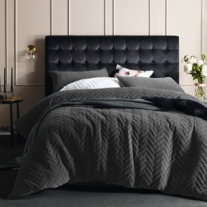 Chevron King Slate Quilted Cotton Velvet Quilt Cover Sets