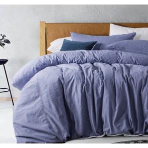 Purple Denim Acid Washed Linen Cotton Quilt Cover Set by Vintage Design
