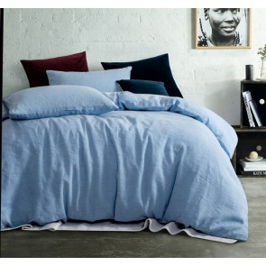 Chambray Yarn Dyed 100% Linen Quilt Cover Set