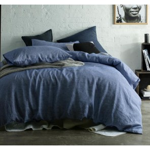 Navy Stripe Yarn Dyed 100% Linen Quilt Cover Set