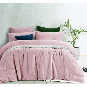 Blush Cotton Velvet Quilt Cover Set