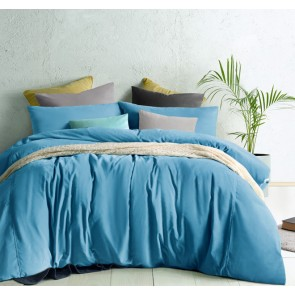 Moonstone Blue Cotton Velvet Quilt Cover Set