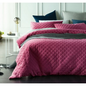 Diamond Deep Cerise Quilted Cotton Velvet Quilt Cover Sets