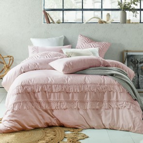 Boho Tassels Linen Cotton Blush Single Quilt Cover Set by Accessorize