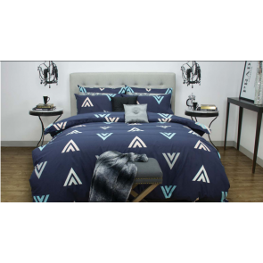 Asta Navy Quilt Cover Set by Apartmento