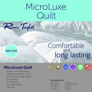 600 GSM Microluxe Quilts Soft cover and Microfiber Filling by Renee Taylor