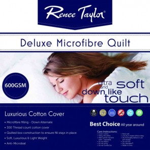 600 Gsm Deluxe Quilt With Cotton Cover Premium Microfiber Filling by Renee Taylor